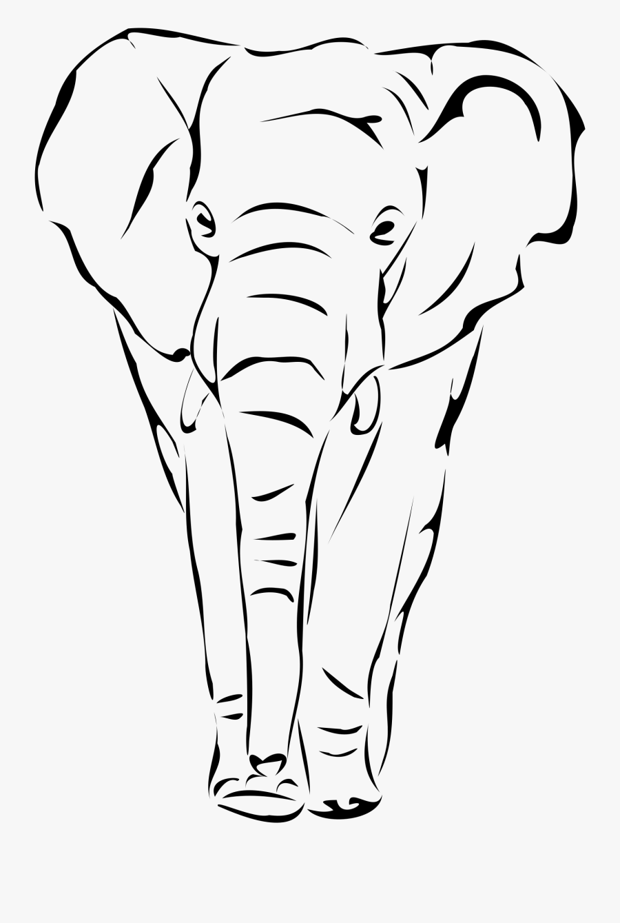 Free Drawing Outline Letters - Elephant Transparent Line Drawing, Transparent Clipart