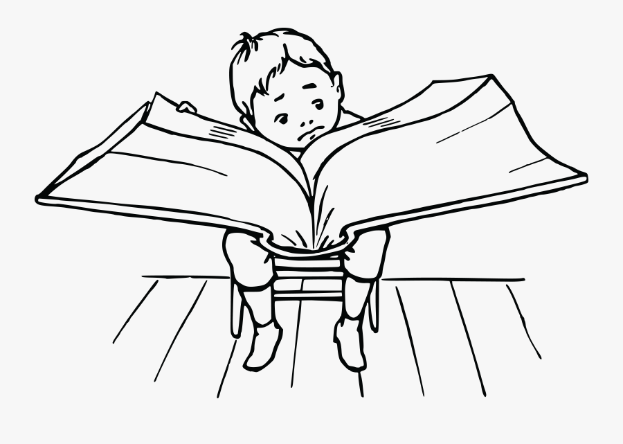 Clipart Book Clipart Reading - Reading Boy Clipart Black And White, Transparent Clipart
