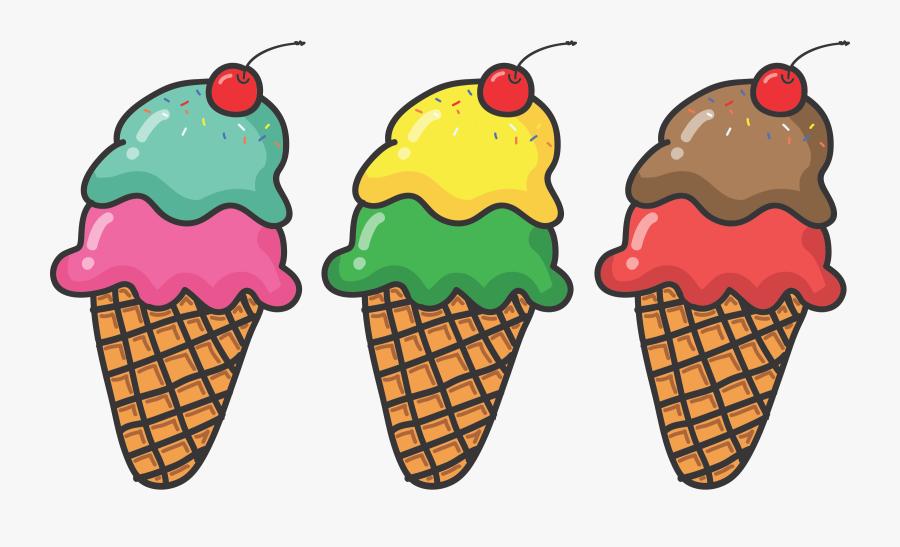 Three Ice Cream Cones - Ice Cream Cones Clipart, Transparent Clipart