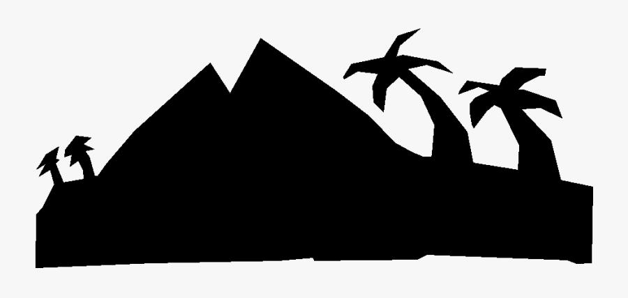 Island Mountain Clipart - Mountain Png Black & White Clip Art, Transparent Clipart