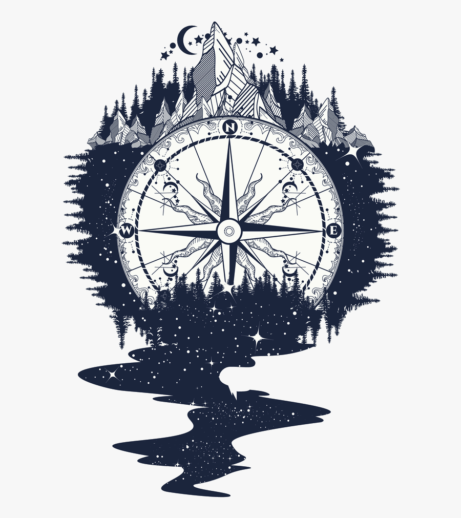 Mountain Clipart Tattoo - Compass With Mountains Tattoo, Transparent Clipart