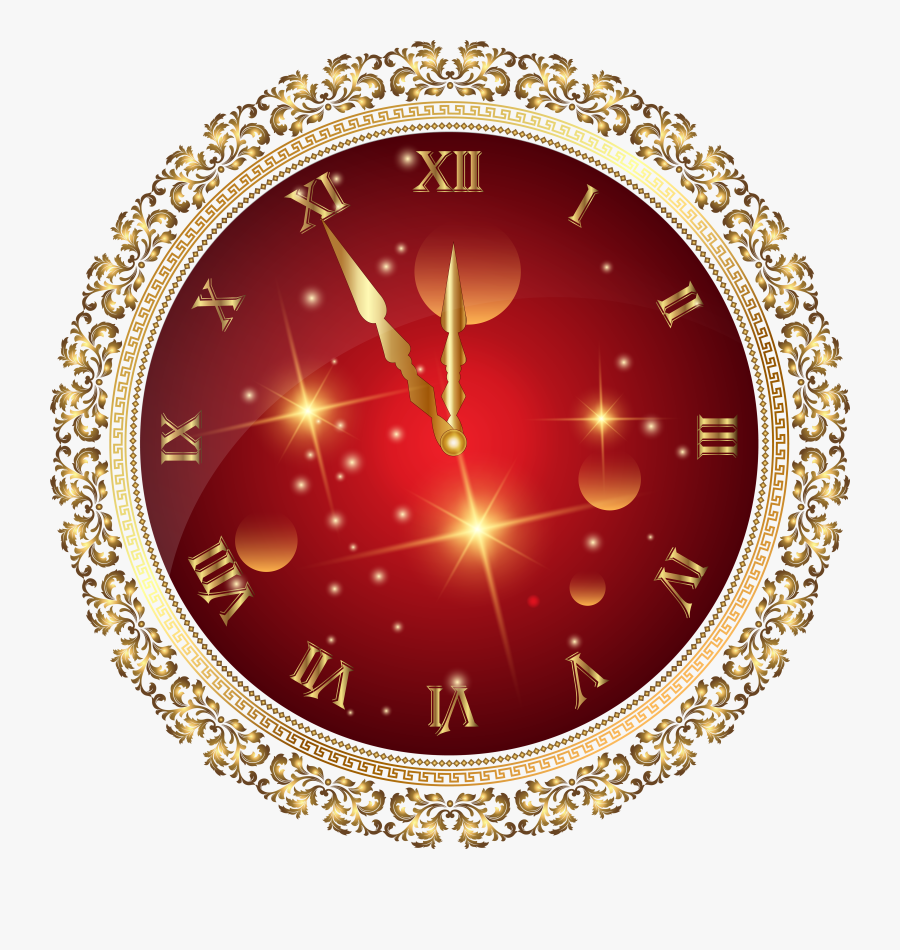 """Red New Year""""s Clock Png Transparent Clip Art Image - New Year Clock Png Png, Transparent Clipart"""