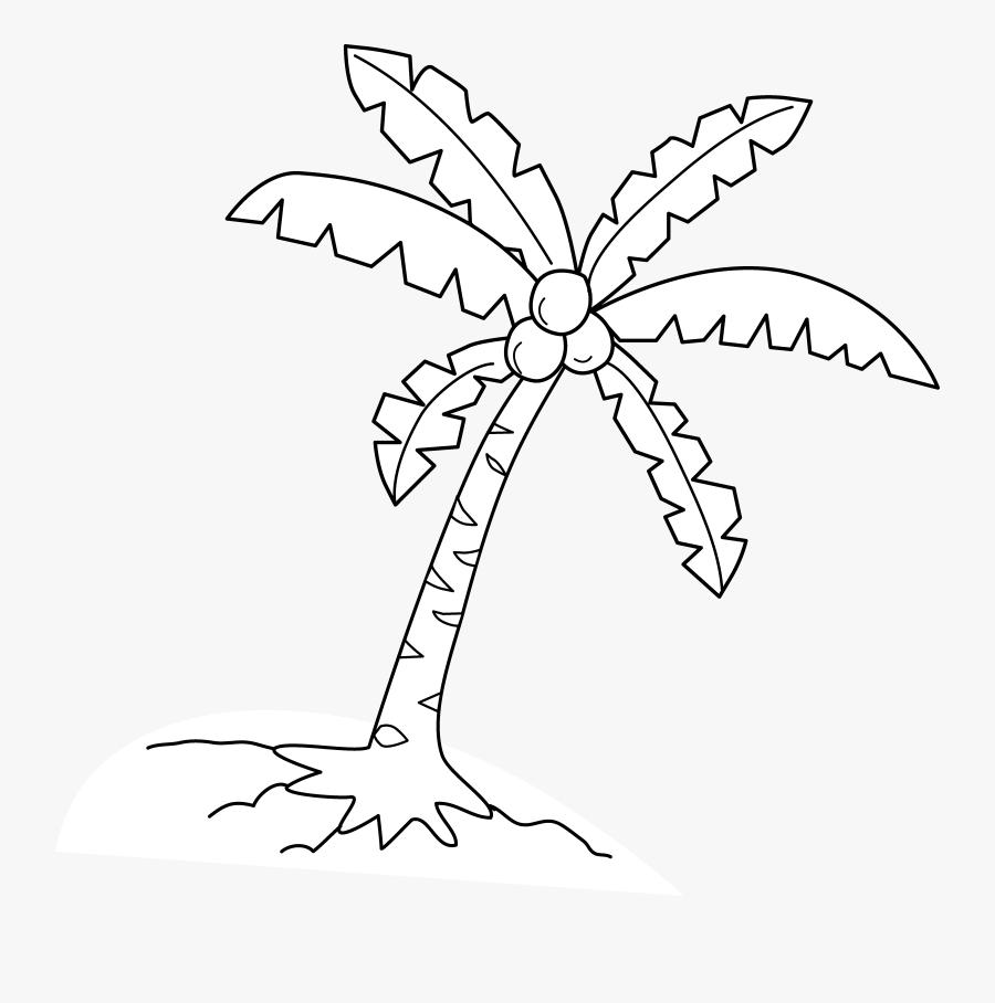 Black Clipart Coconut Tree - Coconut Tree Clip Art, Transparent Clipart