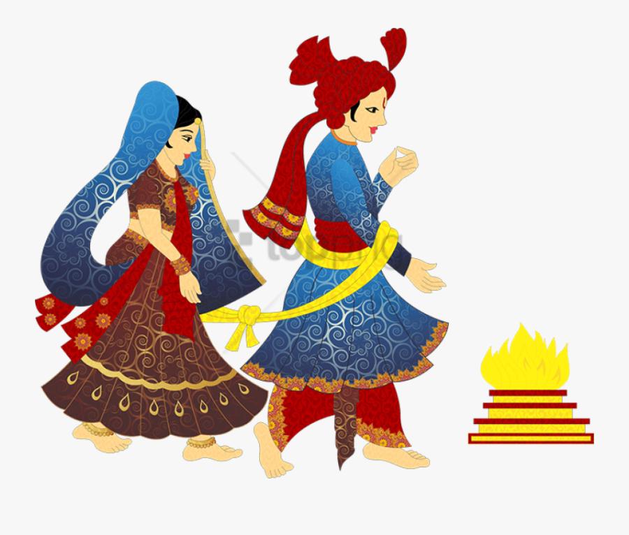 Indian Clipart Bride Groom - Indian Wedding Cartoon Png, Transparent Clipart