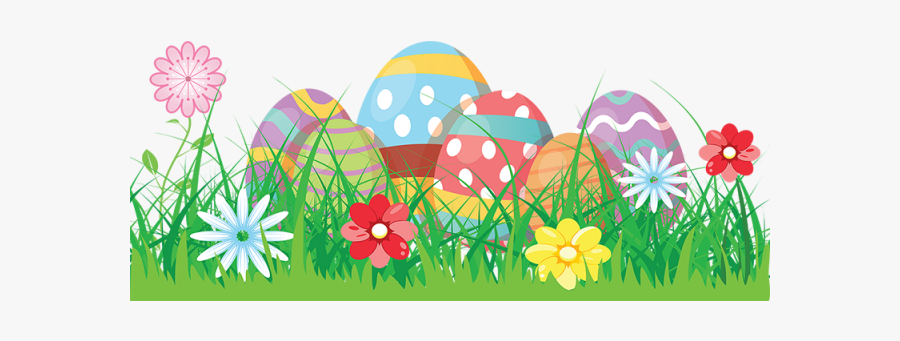 Colorful Flowers Vector - Easter Egg Clipart Background, Transparent Clipart