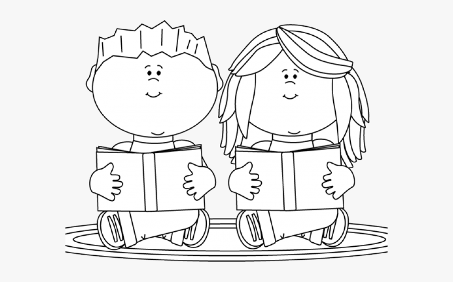 Transparent Reading Clipart - Boy And Girl Reading Clipart Black And White, Transparent Clipart