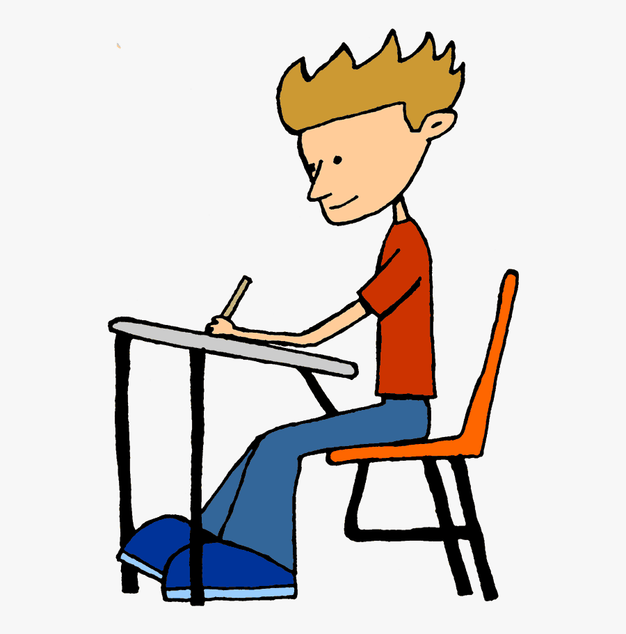 Students Writing Clipart - Student Sitting At Desk Clipart, Transparent Clipart