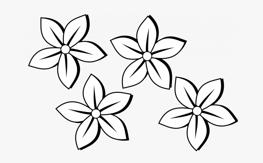 Permalink To 90 Ideas Flower Clip Art Black And White - 4 Flowers Clipart Black And White, Transparent Clipart