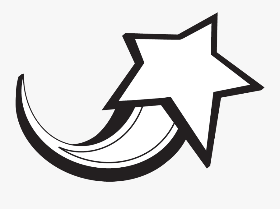 Black And White Shooting Star Clipart Png - Shooting Star Clipart Black And White, Transparent Clipart