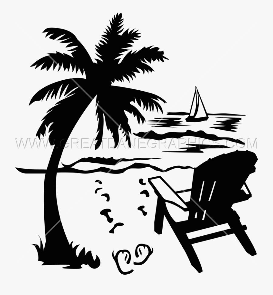 Transparent Palm Trees Clipart - Beach Chair Clipart Black And White, Transparent Clipart