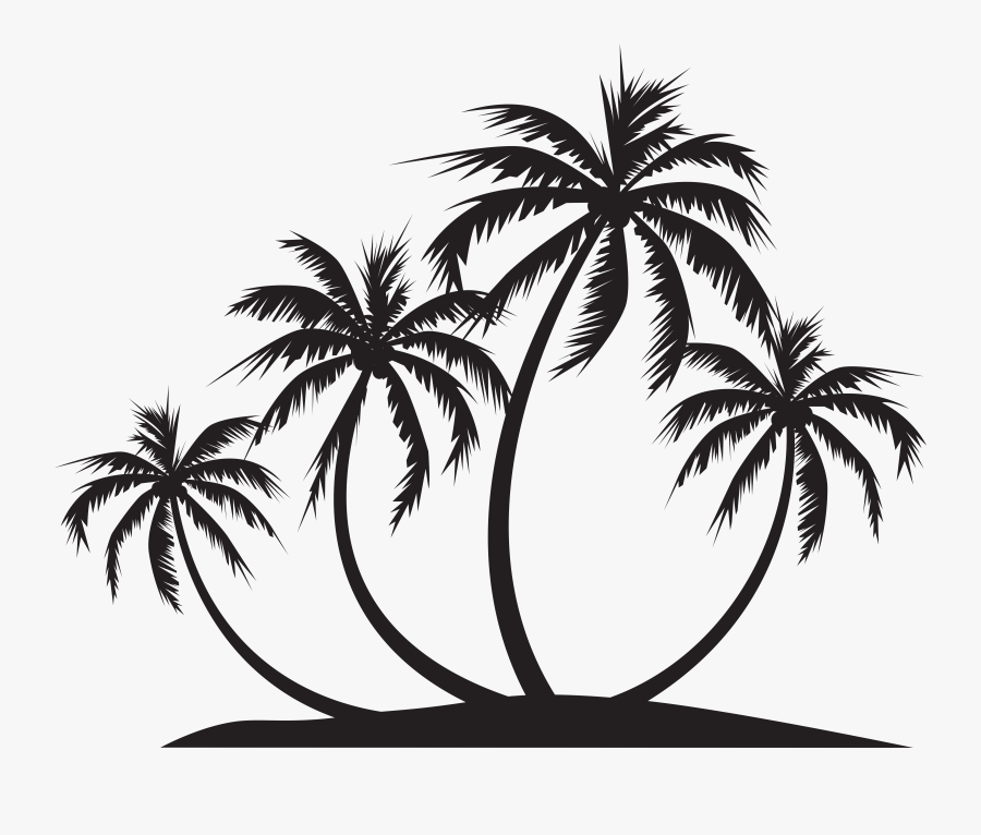Palm Island Silhouette Png Clip Art, Transparent Clipart