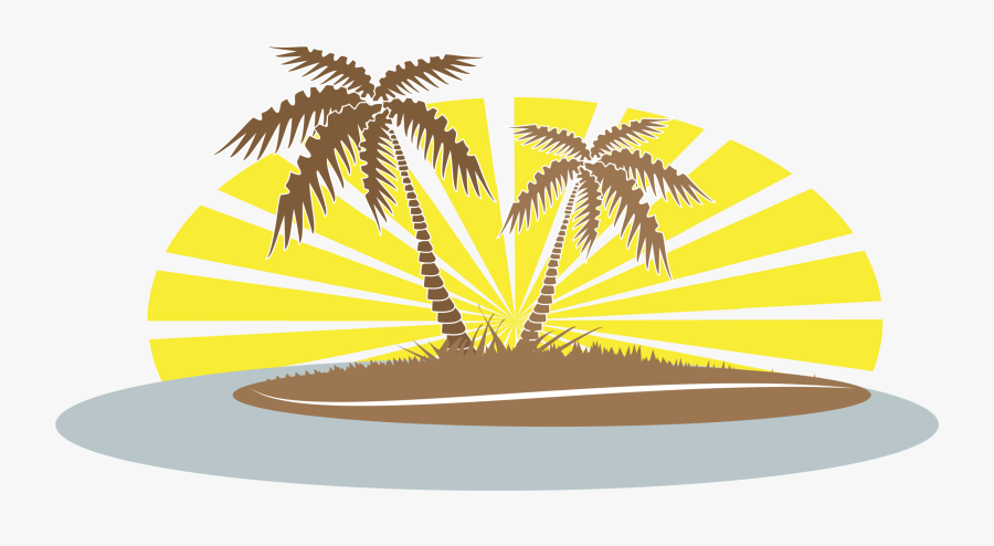 Clipart Summer Palm Tree - Palm Trees And Beach Clip Art, Transparent Clipart