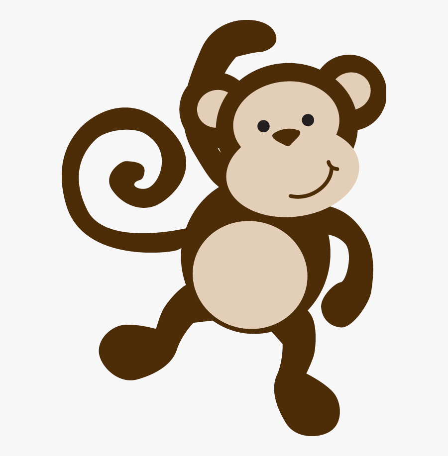 Transparent Hanging Monkey Clipart Black And White - Baby Safari Monkey, Transparent Clipart