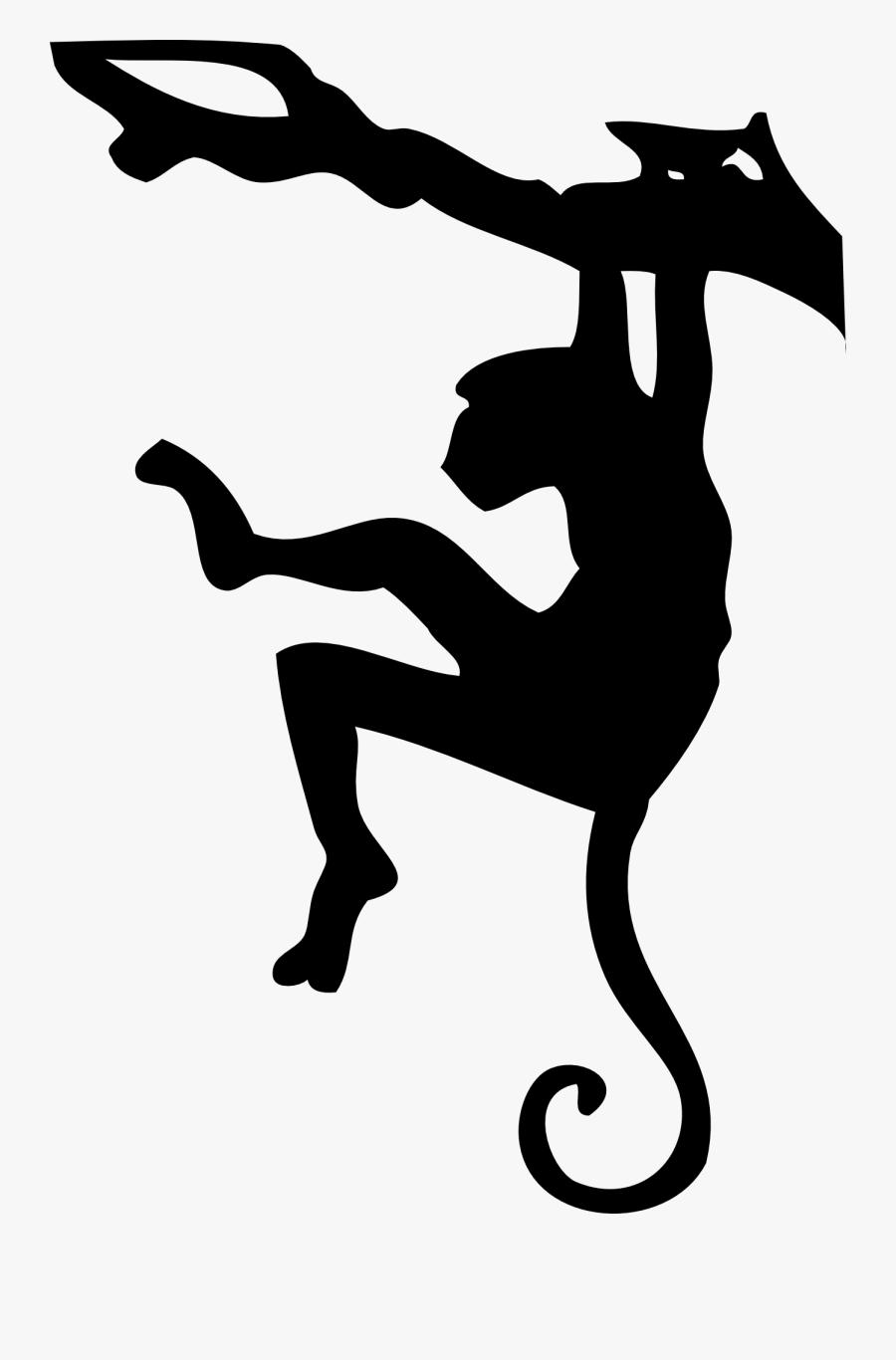 Hanging Monkey Clipart Black - Monkey Silhouette, Transparent Clipart