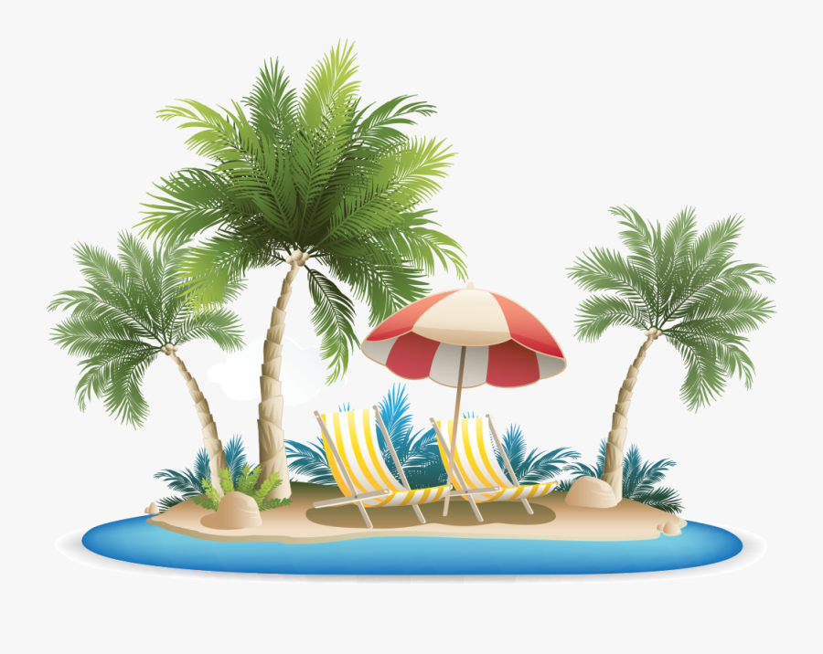 Palm Tree Clipart Tropical Grass - Clip Art Beach Transparent Background, Transparent Clipart