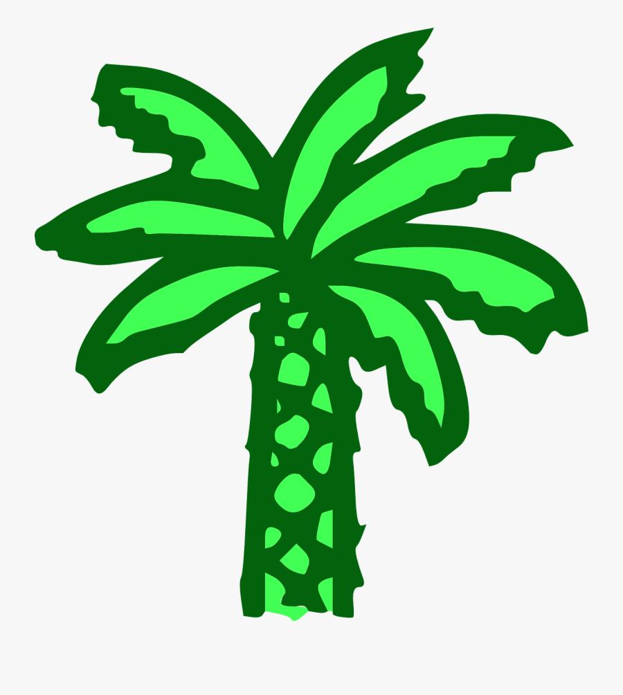 Free Vector Cartoon Green Palm Tree Clip Art - Cartoon Palm Tree, Transparent Clipart