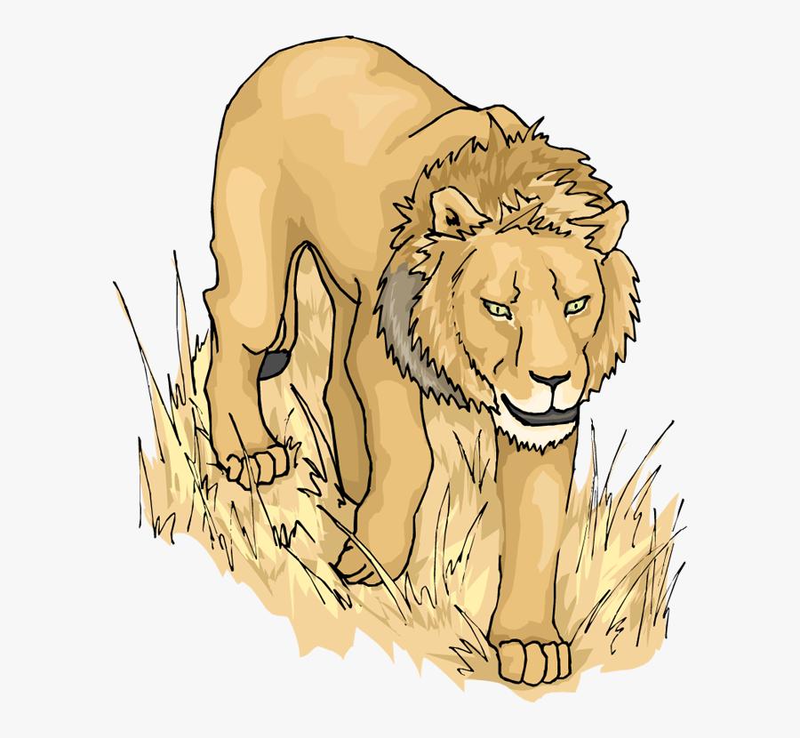 Lion Clip Art Free Vector 4vector - Lion Moving Animation, Transparent Clipart