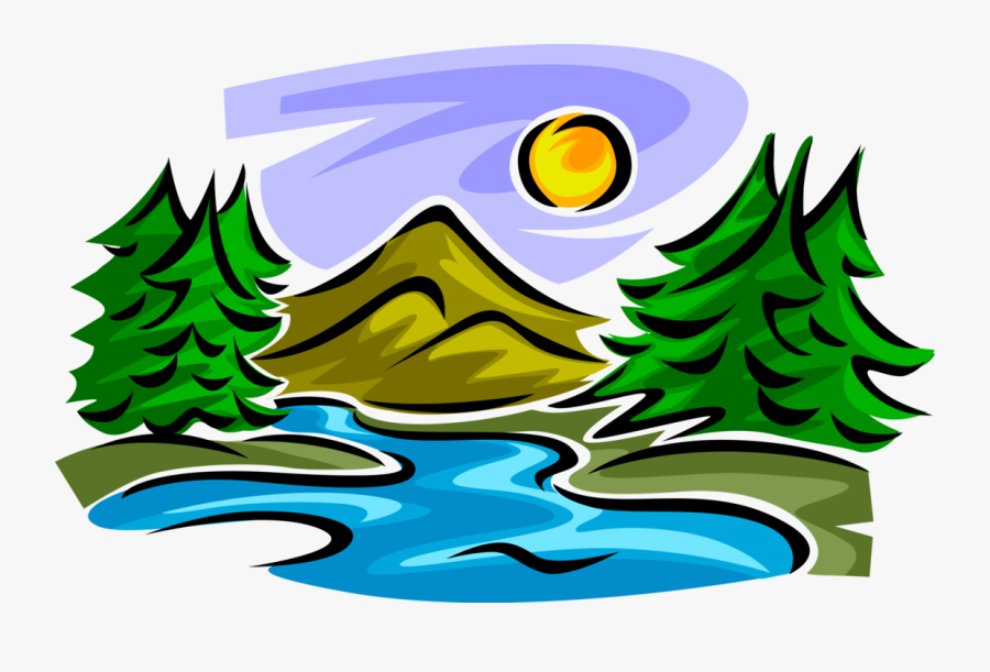 Mountain Stream With Trees And Sun - Stream Clipart, Transparent Clipart