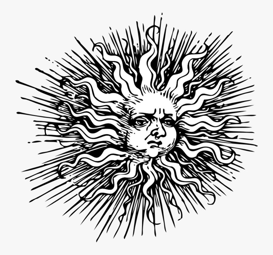 Clipart - Ornate Sun - Vintage Clip Art Sun, Transparent Clipart