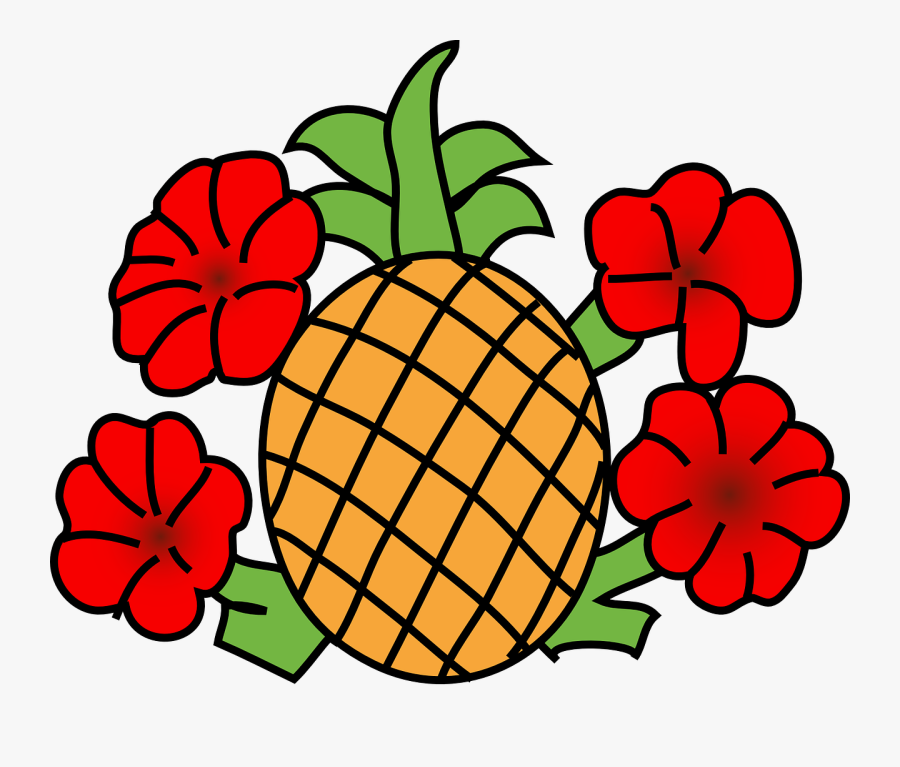 Pineapple - Vector - Png - Clip Art Fruits Black And White, Transparent Clipart