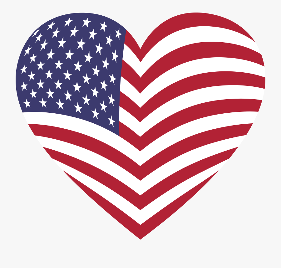 American Flag Heart Free, Transparent Clipart