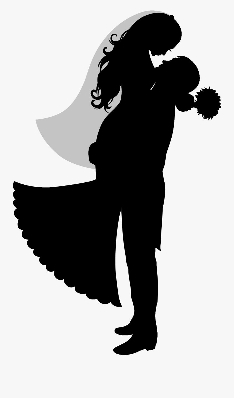 Wedding Clipart Groom Silhouette - Vector Bride And Groom Silhouette, Transparent Clipart