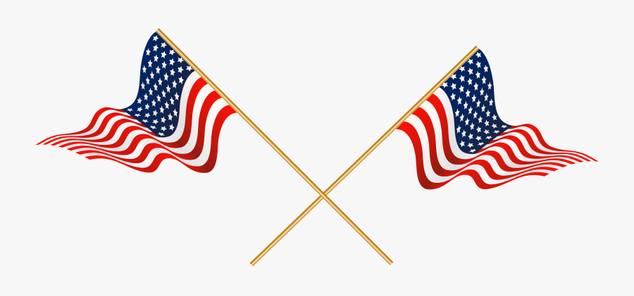 Crossed American Flags Clip Art - Transparent American Flag Clipart, Transparent Clipart