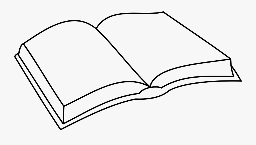 Clipart Open Book Outlineloring - Open Book Drawing Simple, Transparent Clipart