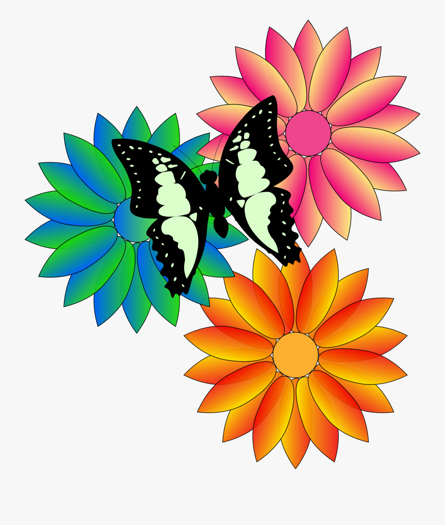 Png Library Bouquet Clipart May Flower - Flowers With Butterfly Cartoon, Transparent Clipart