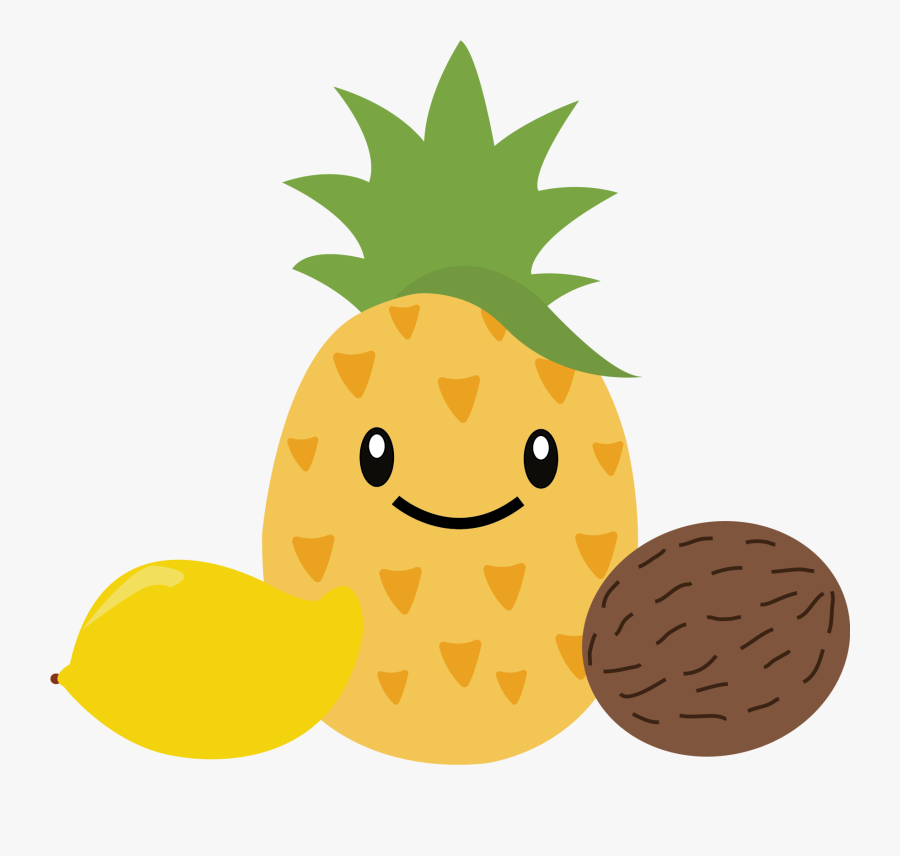 Pineapple Berries Watermelon Tropical Orange Melon - Pineapple With Face Clipart, Transparent Clipart