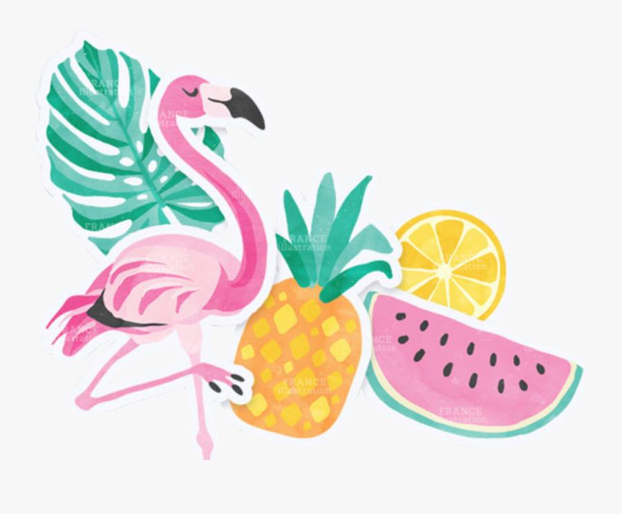 #summer #flamingo #pineapple #glasses #sandals #colorful - Pineapple Transparent Flamingo Clipart, Transparent Clipart