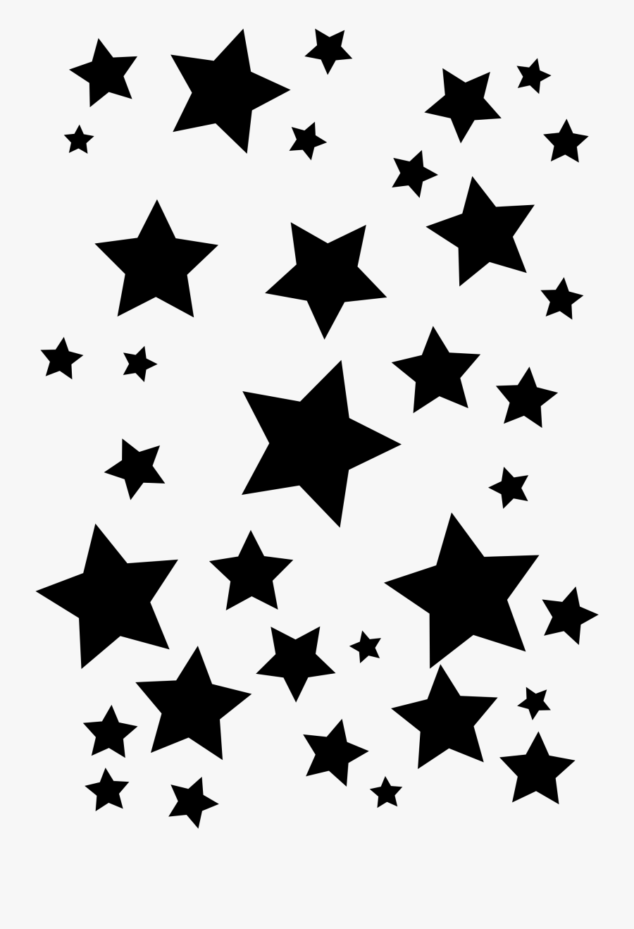 Different types and forms of silver stars. illustration for design on white  background.