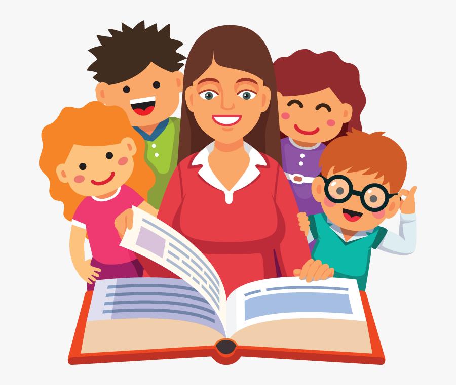 Story Time Clipart - Teacher Reading Book Cartoon, Transparent Clipart