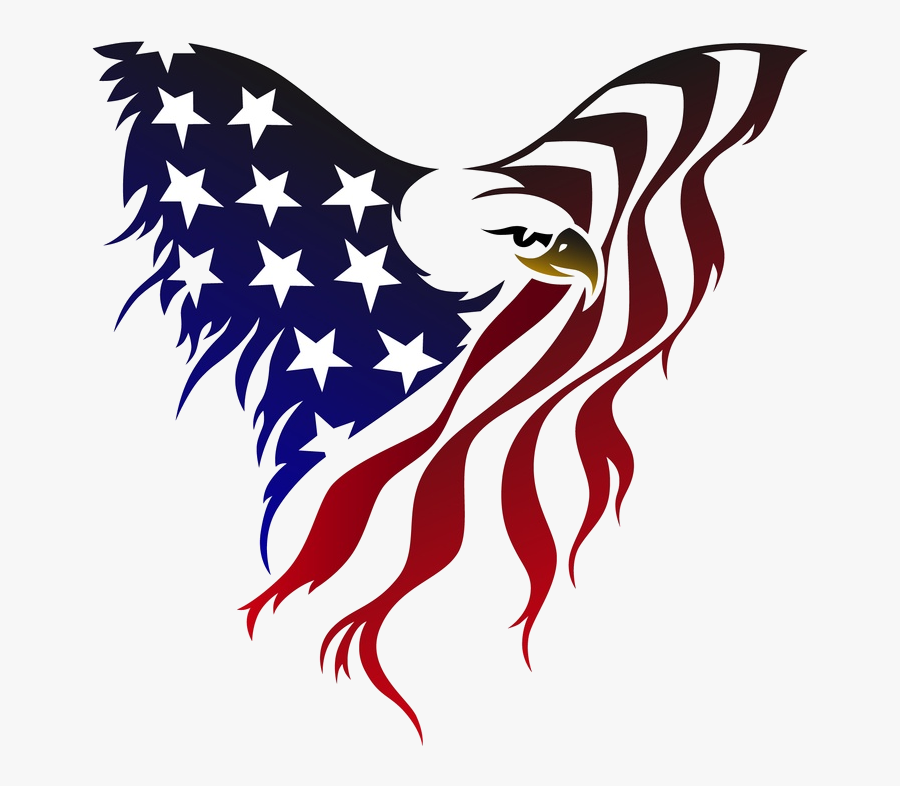 Eagle American Flag Clipart Collection With Transparent - American Flag Eagle Drawing, Transparent Clipart
