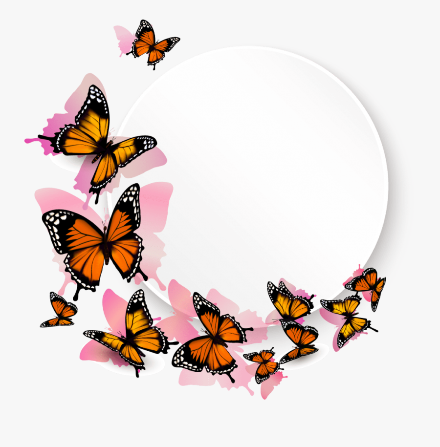 Free Flower Border Clip Art Black And White - Flying Butterflies Transparent Background, Transparent Clipart