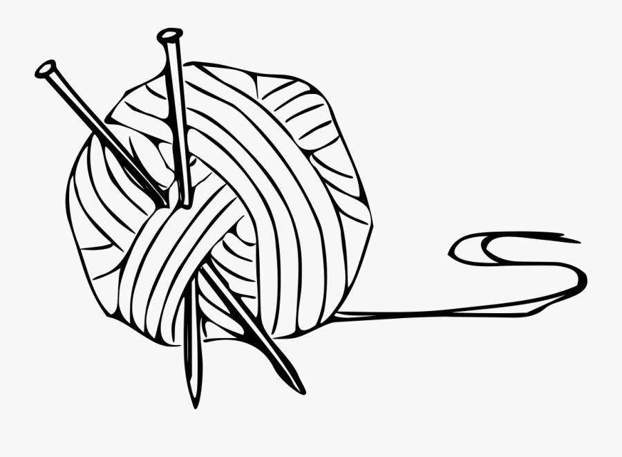 Yarn Clipart Black And White - Knitting Clip Art, Transparent Clipart