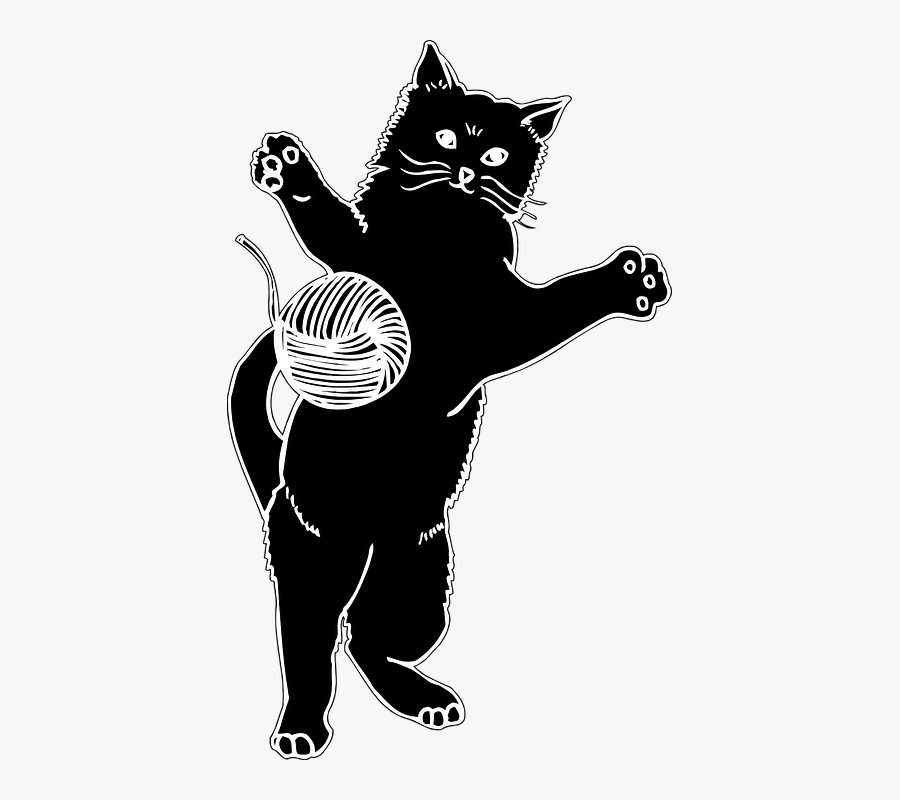 Animal Cat Pet Free - Cat Playing With Ball Clip Art, Transparent Clipart