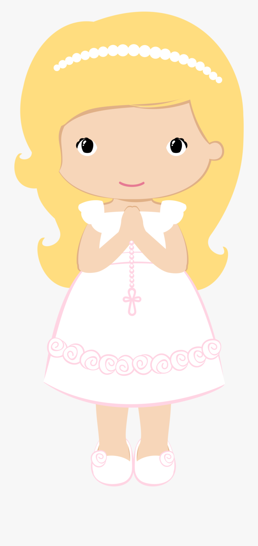 Baptism Borders Cliparts - Girl First Communion Clipart, Transparent Clipart