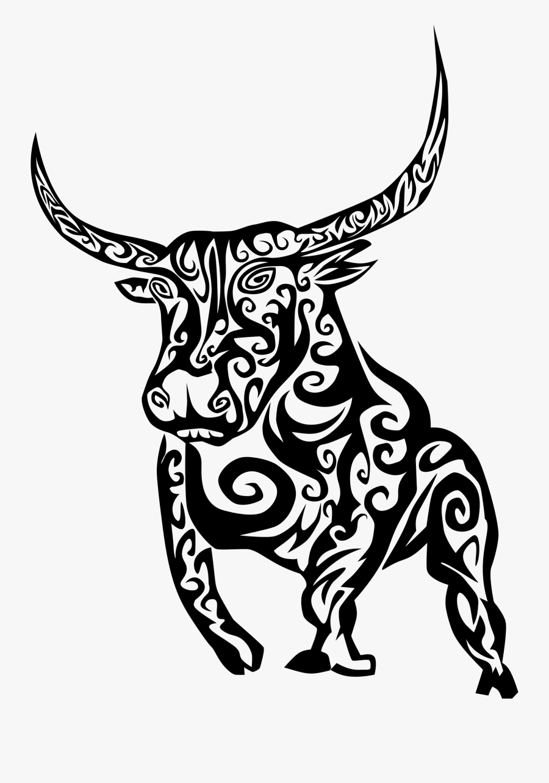 Bull Tattoo Clipart , Png Download - Simple Design Bull Tattoos, Transparent Clipart