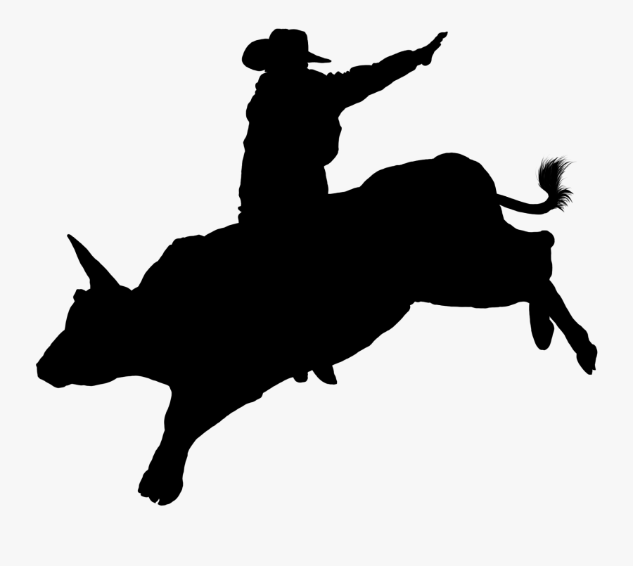 Vector Freeuse Stock Bull Riding Clipart - Bull Riding Rodeo Silhouette, Transparent Clipart