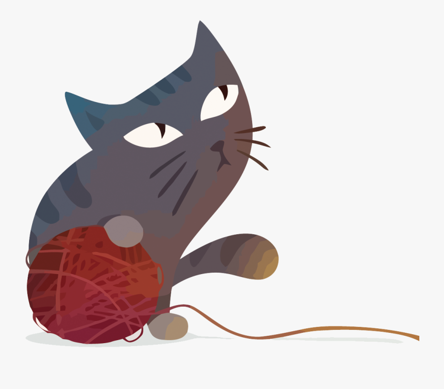 Vector Cat And Wool - Cat With Yarn Ball Png, Transparent Clipart