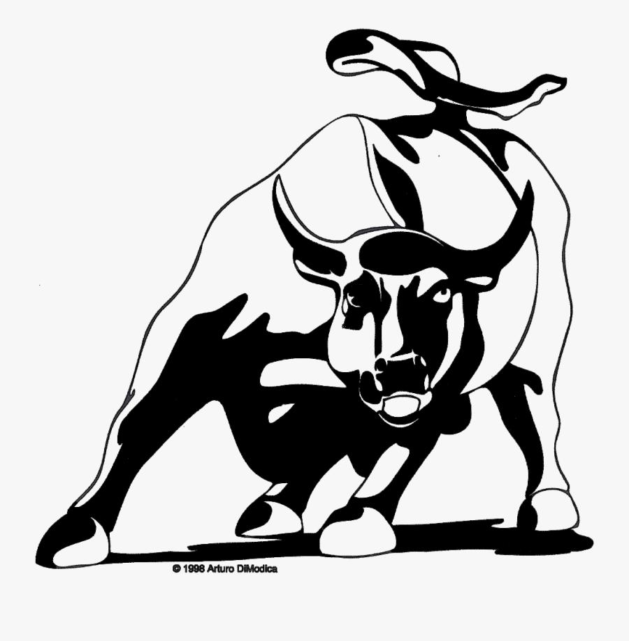 Clip Art Charging Bull Clip Art - Wall Street Bull Logo, Transparent Clipart