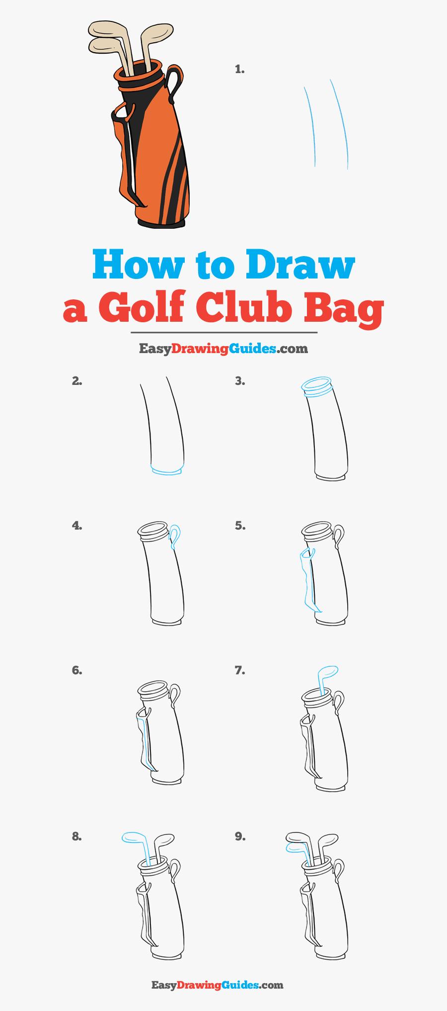 How To Draw A Golf Club Bag - Draw A Golf Bag Easy, Transparent Clipart