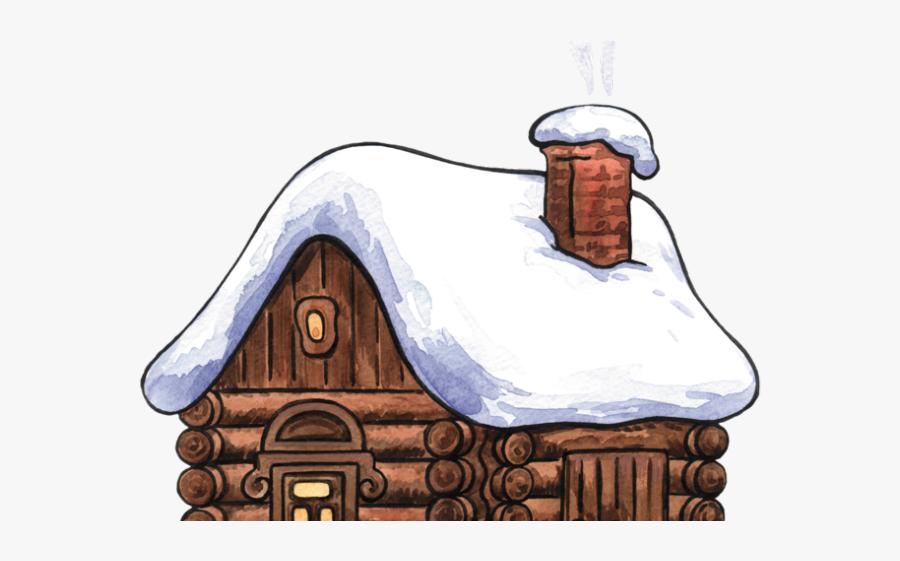 Snowy Log Cabin Clip Art, Transparent Clipart