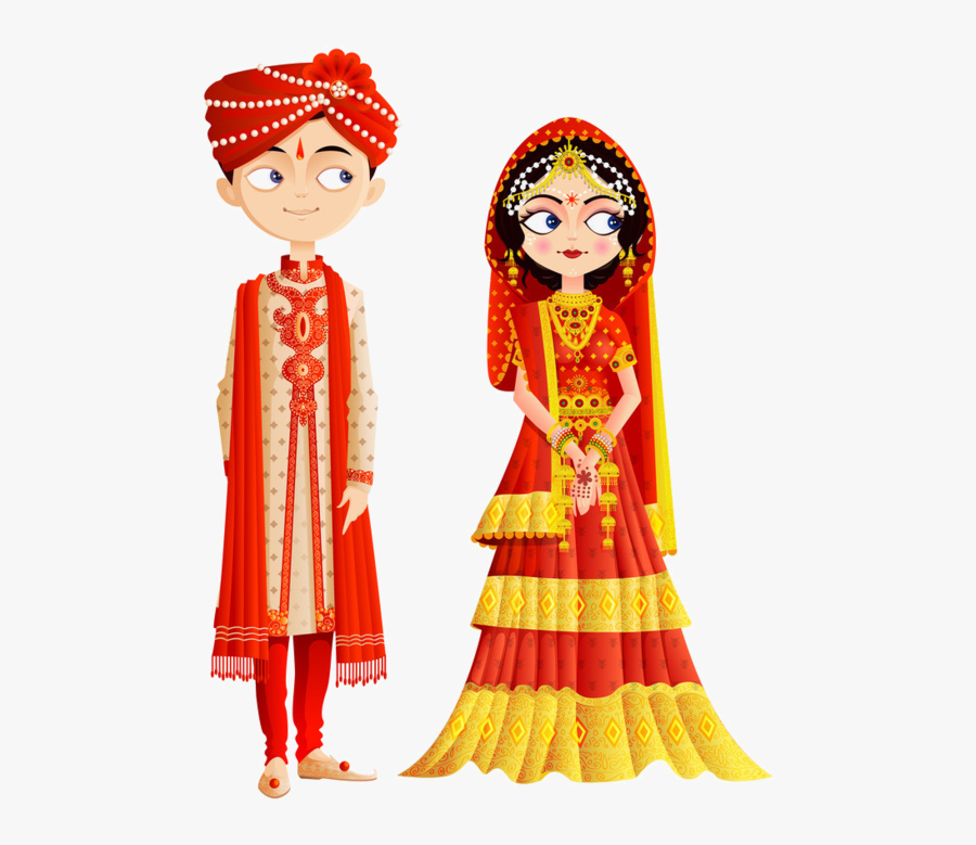 Groom Clipart Emoji Bride - Indian Wedding Couple Vector, Transparent Clipart