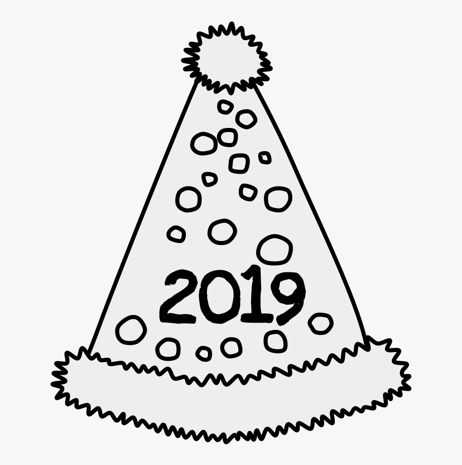Party Hat, Pom-pom, Tinsel, Dots, 2019, Black And White - Party Hat, Transparent Clipart