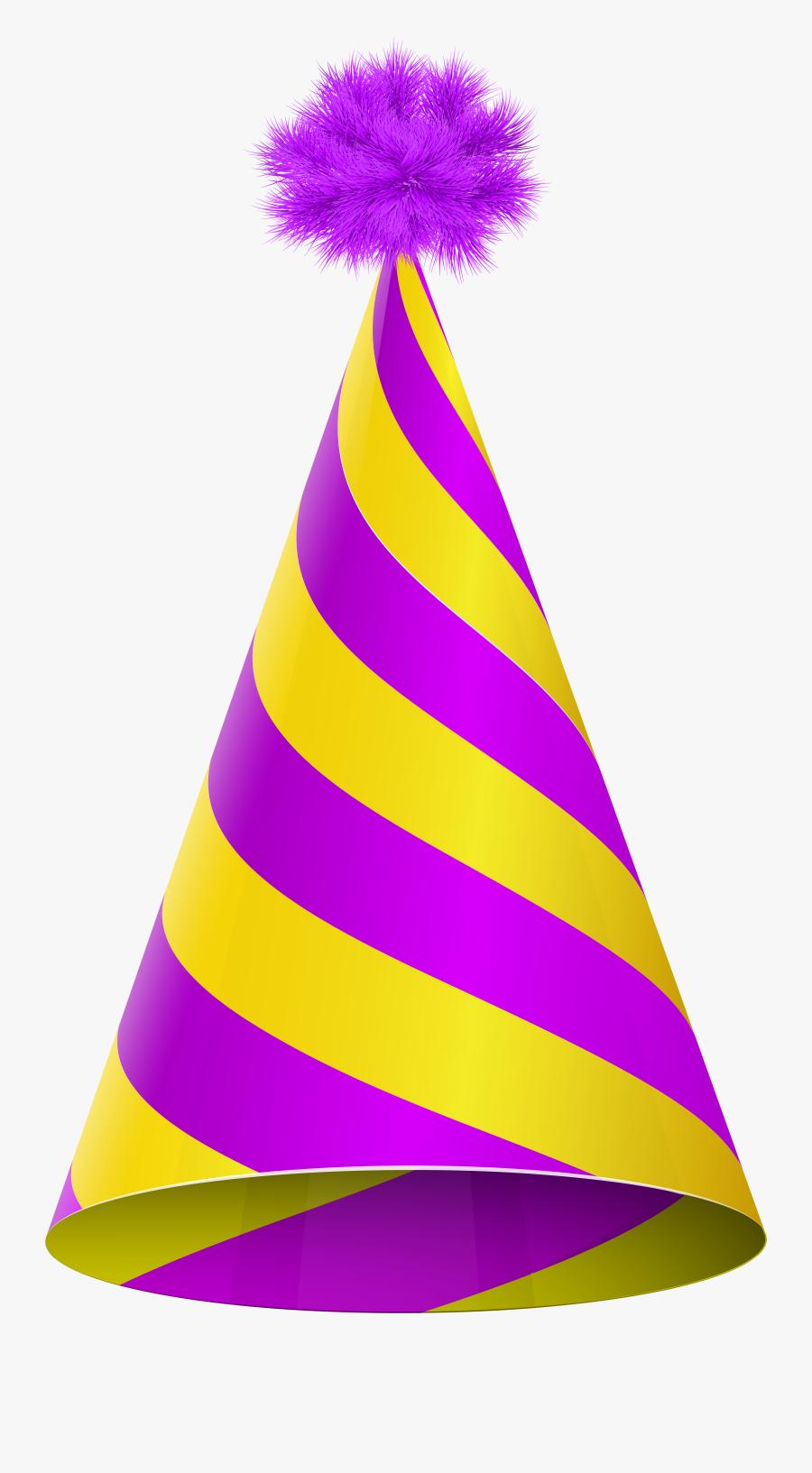 Party Hat Purple Yellow Transparent Clip Art Image - Purple Party Hat Png, Transparent Clipart