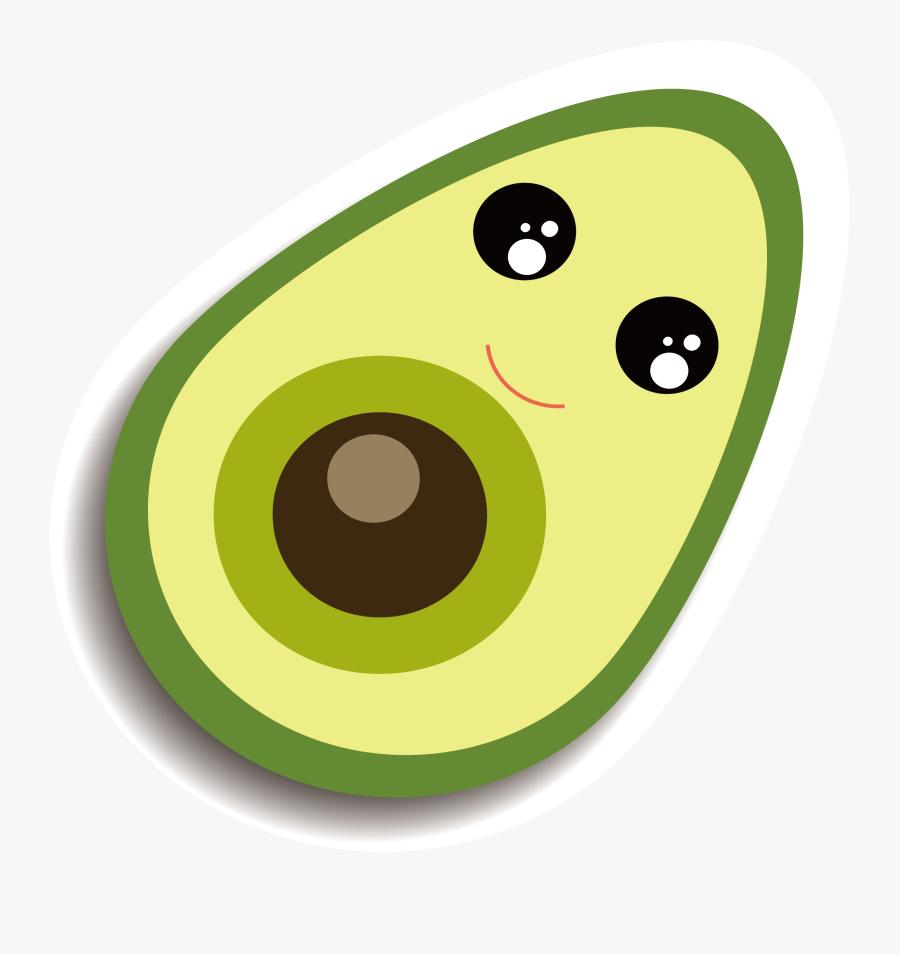 Clip Art Guacamole Clip Art Green - Avocado Cartoon Transparent Background, Transparent Clipart