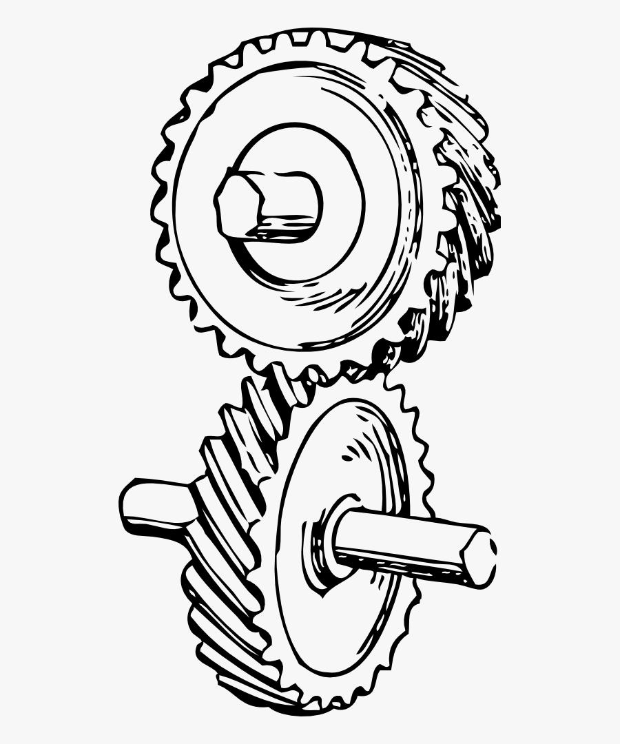 Skew Gear - Mechanical Engineering Line Art, Transparent Clipart
