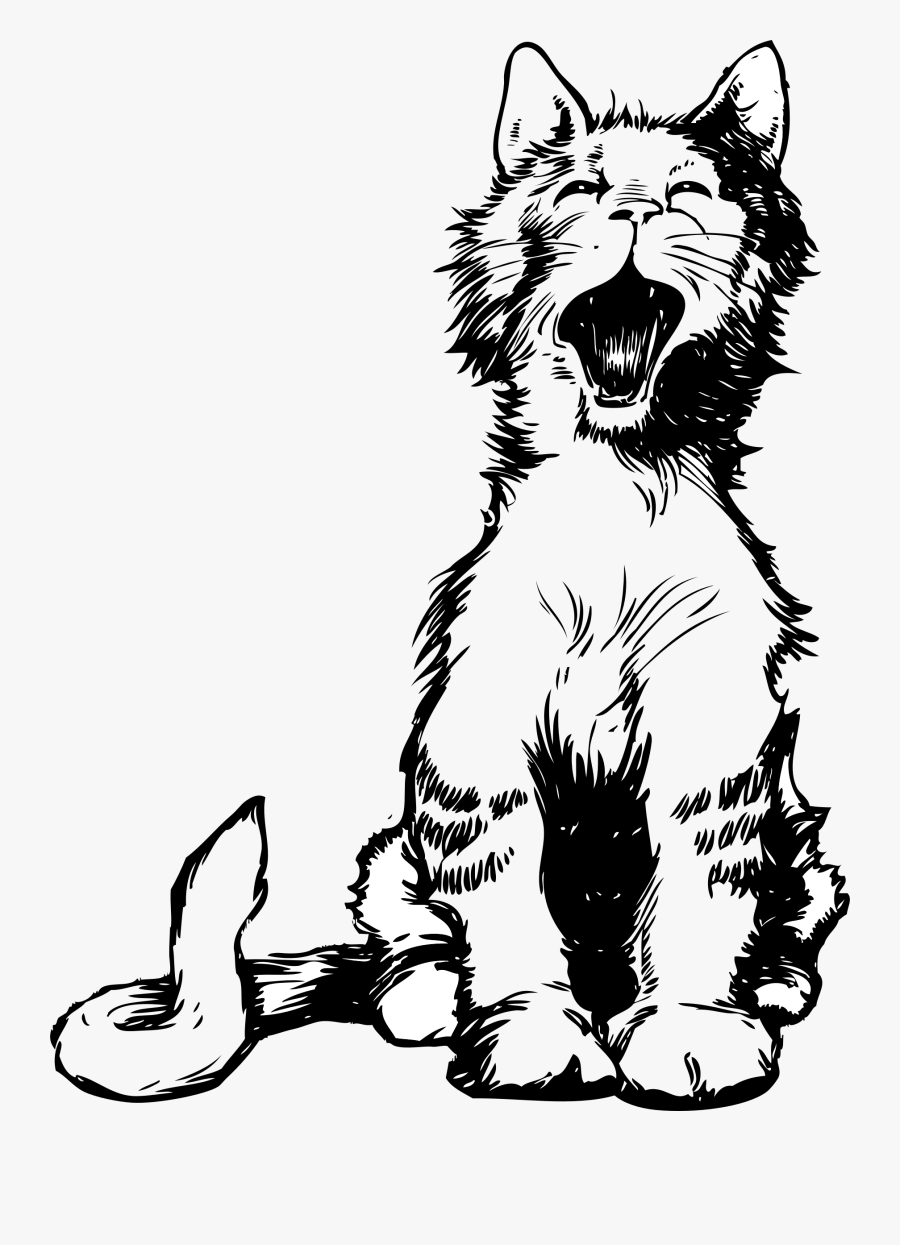 Cat S Meow Black White Line Art Tatoo Tattoo - Cat Meowing Vector, Transparent Clipart